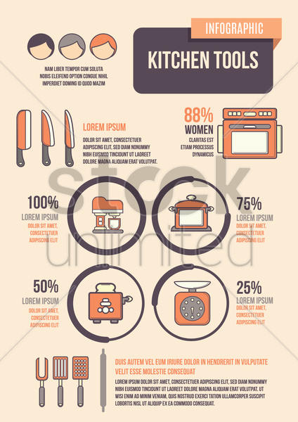 infographic of kitchen tools vector graphic