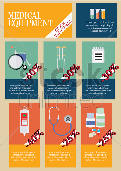 infographic of medical equipment vector graphic