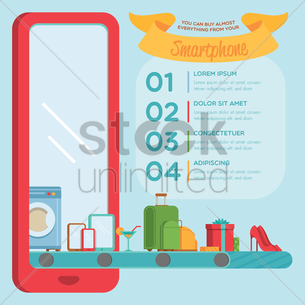 infographic of shopping on smartphone vector graphic