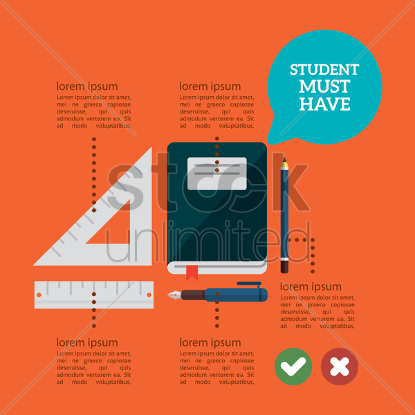infographic of student supplies vector graphic