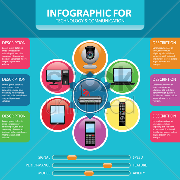 infographic of technology and communication vector graphic