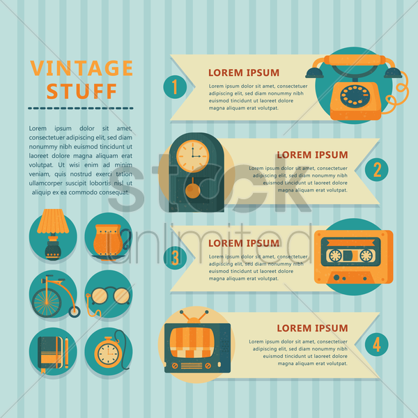 infographic of vintage stuff vector graphic