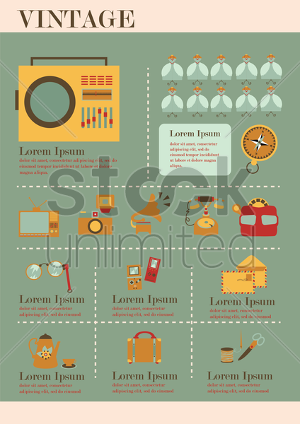 infographic of vintage vector graphic