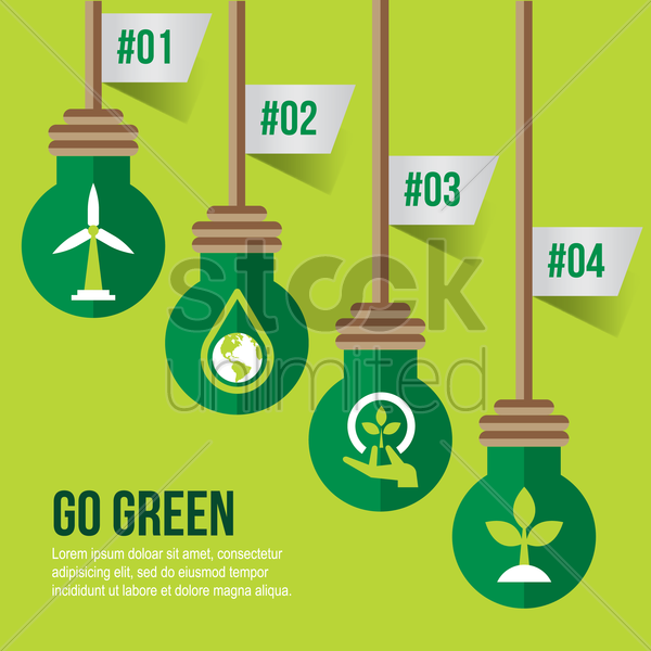 infographic on go green vector graphic