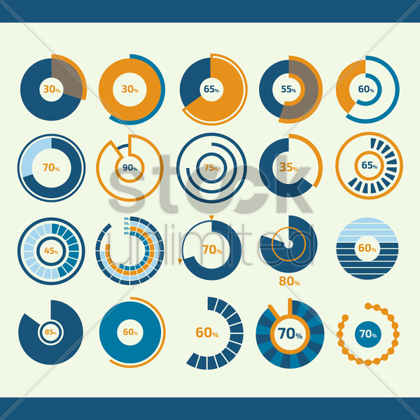 infographic pie chart collection vector graphic