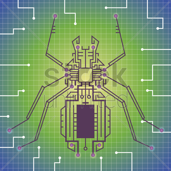 insect shape circuit vector graphic