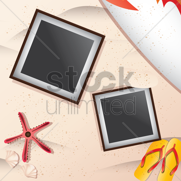instant photo frames on beach vector graphic