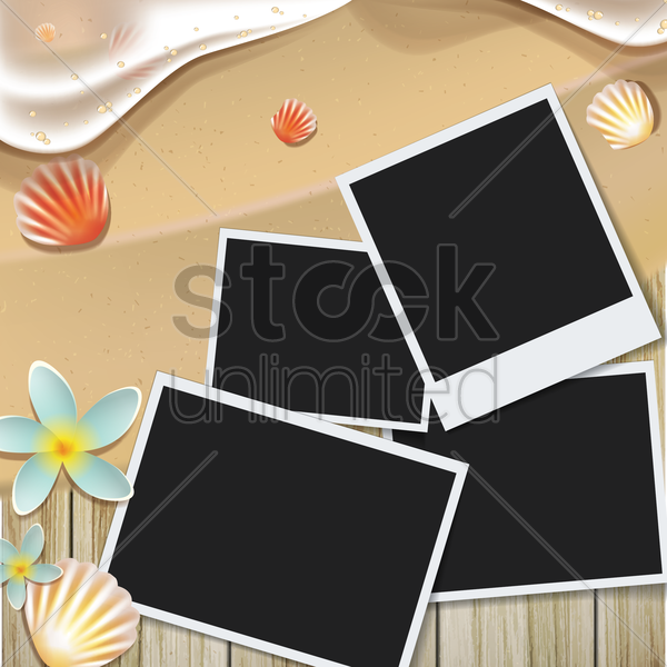 instant photos on beach vector graphic