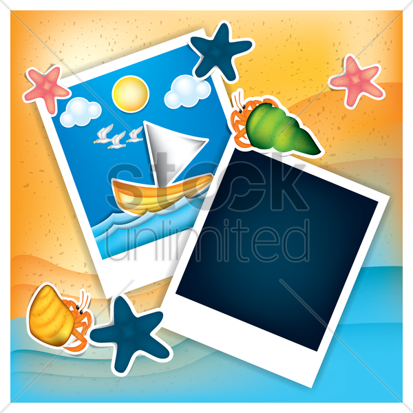instant photos with beach theme vector graphic