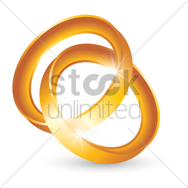 interlocked gold rings vector graphic