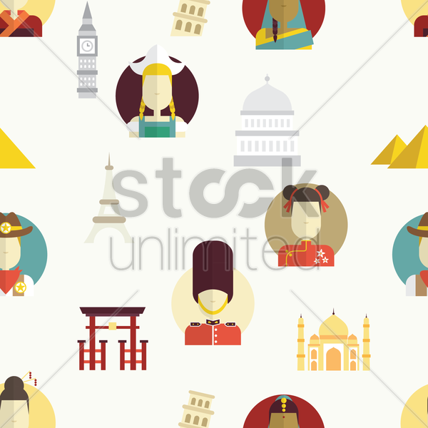 international landmark and culture background vector graphic