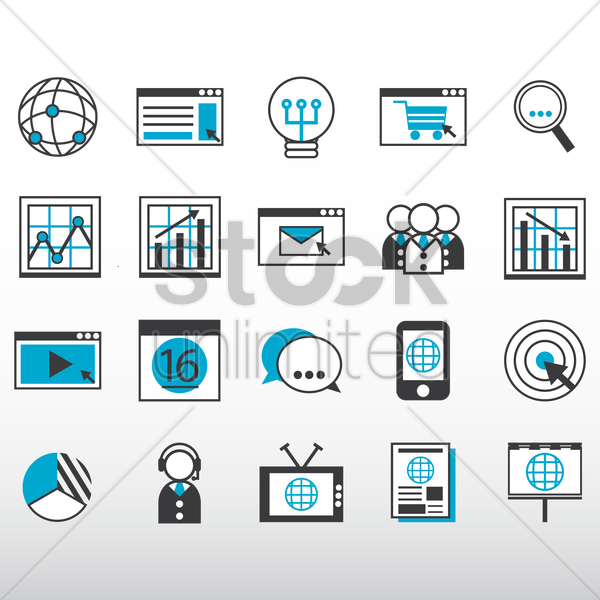 internet marketing icons collection vector graphic