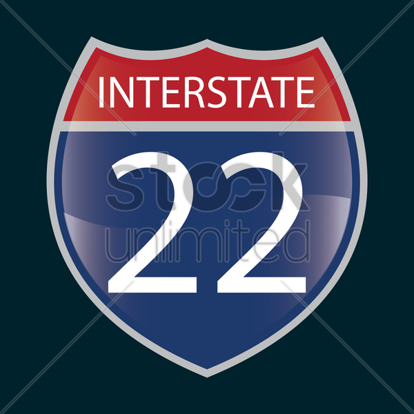 interstate 22 route sign vector graphic