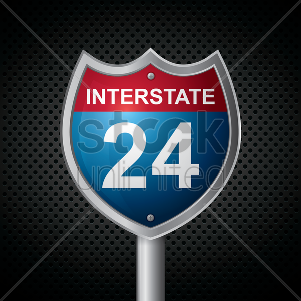 interstate 24 route sign vector graphic