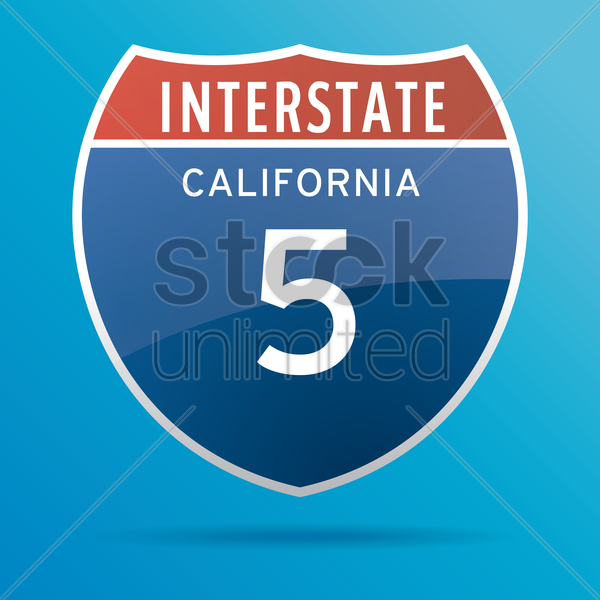 interstate five route sign vector graphic
