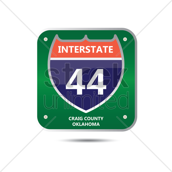 interstate forty four route sign vector graphic