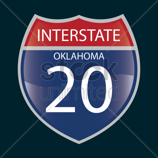 interstate oklahoma 20 route sign vector graphic