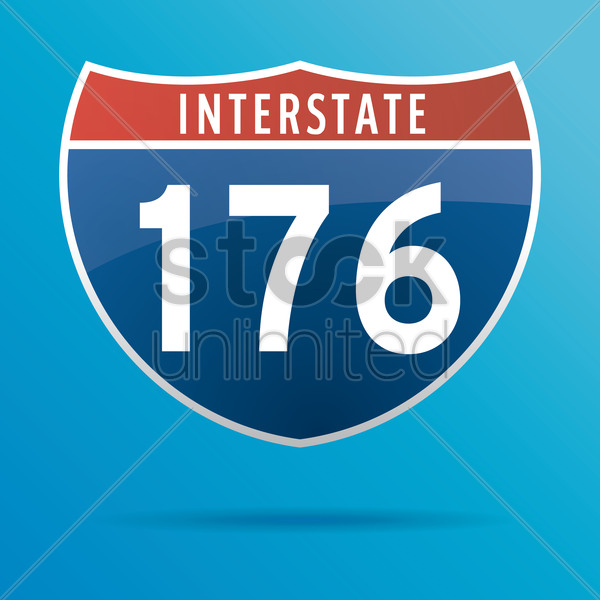 interstate one seventy six route sign vector graphic