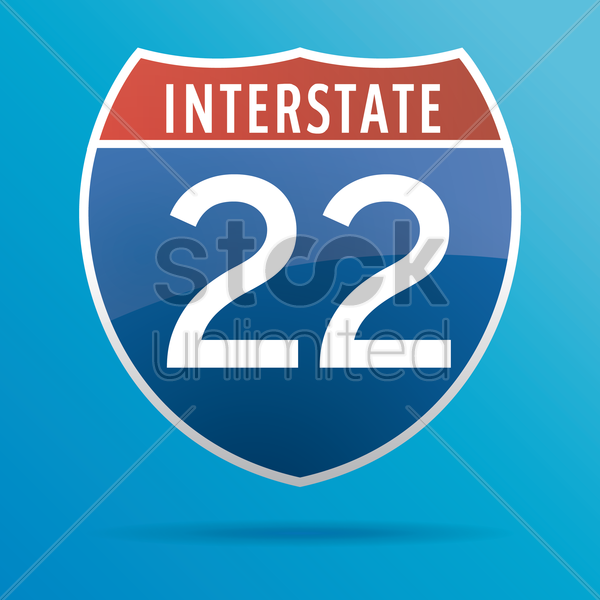 interstate twenty two route sign vector graphic