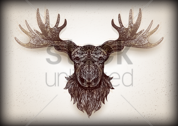 intricate mounted stag head design vector graphic