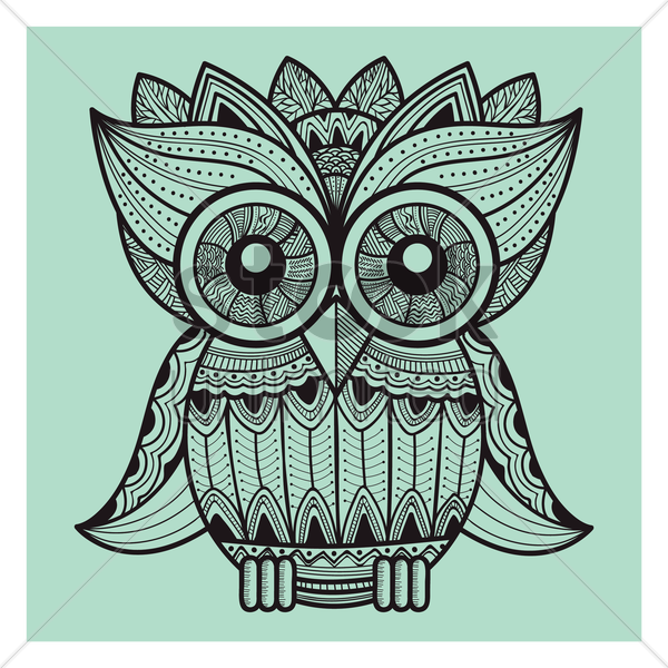 intricate owl design vector graphic