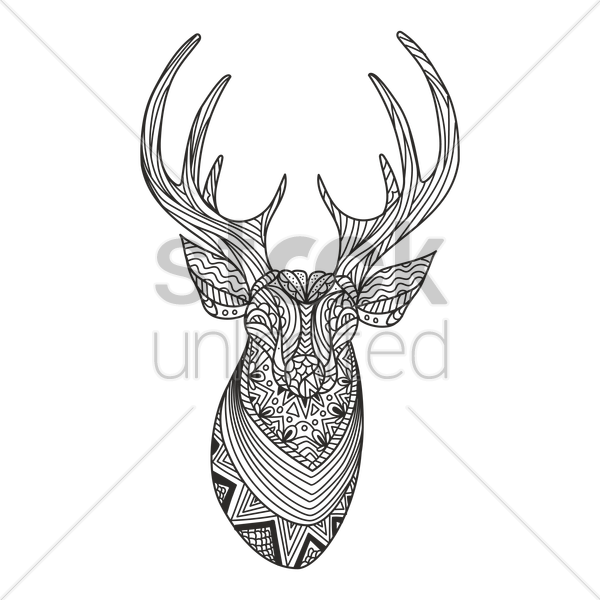 intricate reindeer design vector graphic