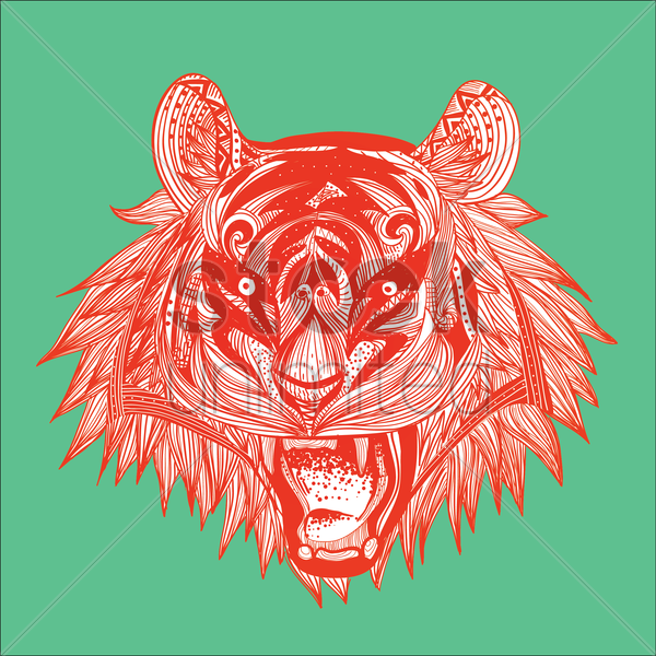intricate tiger head design vector graphic