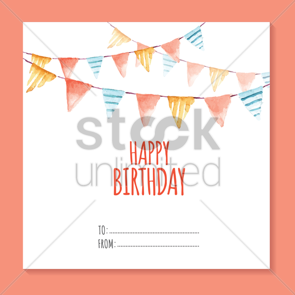invitation card with bunting flags vector graphic