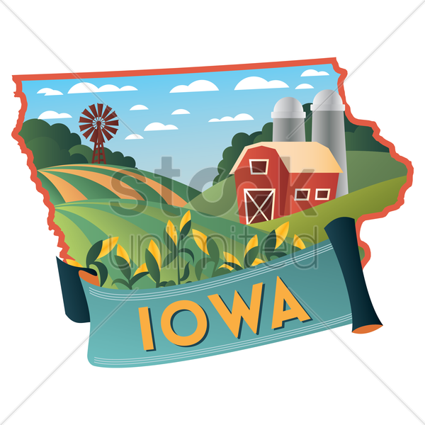 iowa state map vector graphic