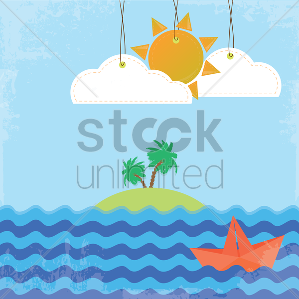 island on a sunny day background vector graphic
