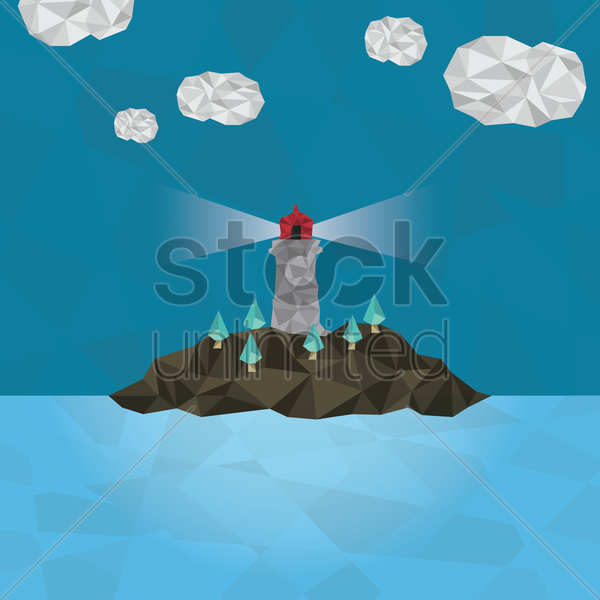 island with lighthouse vector graphic