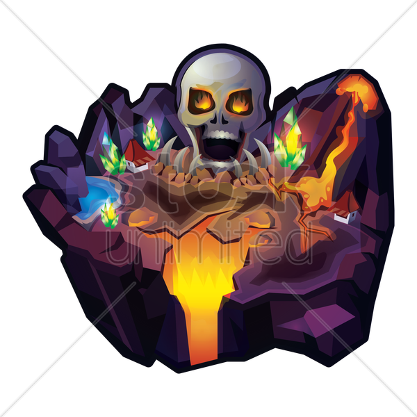 island with skull and volcano vector graphic