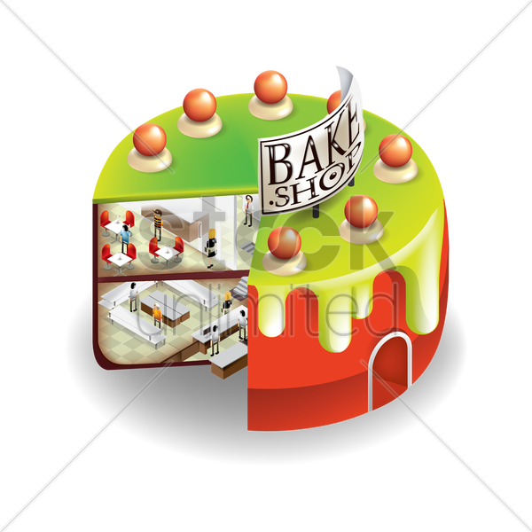isometric bake shop vector graphic