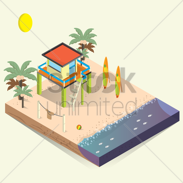 Free isometric beach house vector graphic