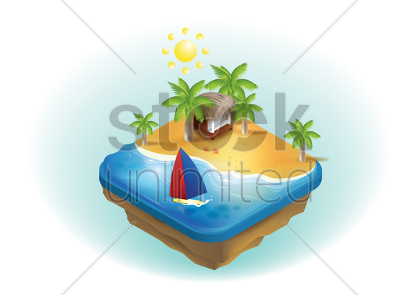 isometric beach vector graphic