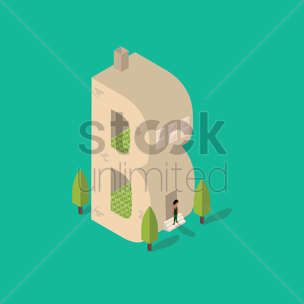 isometric building with alphabet b vector graphic