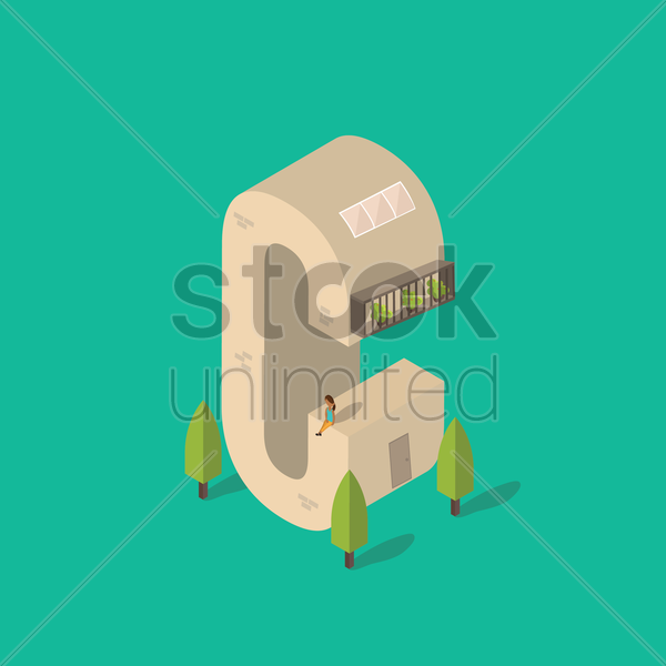 isometric building with alphabet c vector graphic