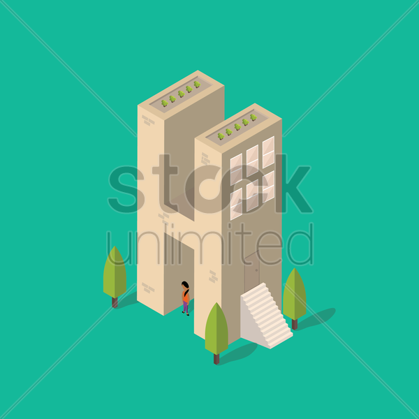 isometric building with alphabet h vector graphic