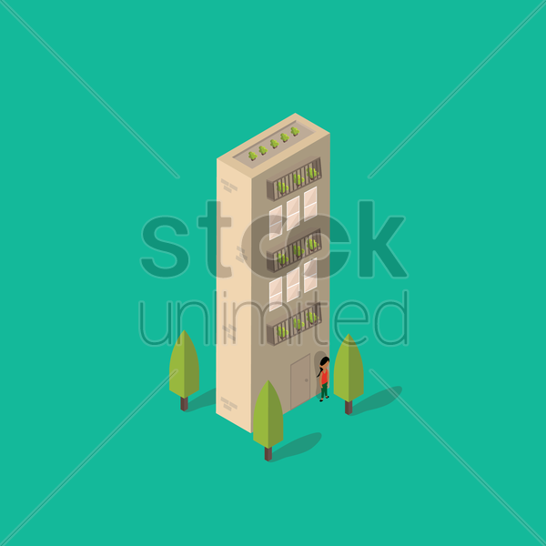 isometric building with alphabet i vector graphic