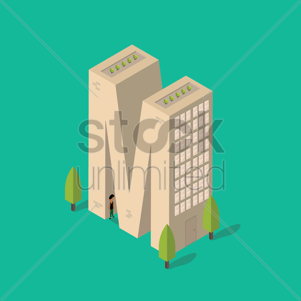 isometric building with alphabet m vector graphic