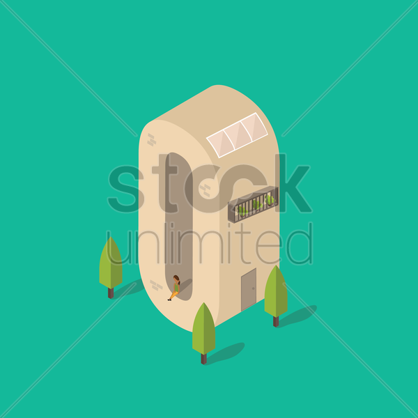 isometric building with alphabet o vector graphic