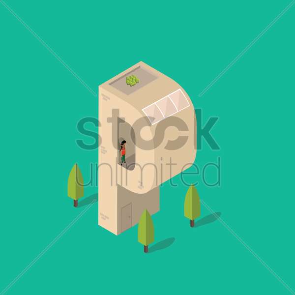 isometric building with alphabet p vector graphic