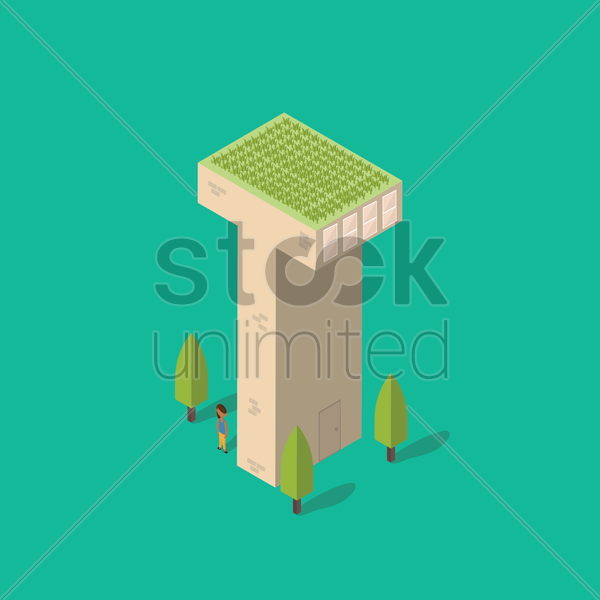 isometric building with alphabet t vector graphic