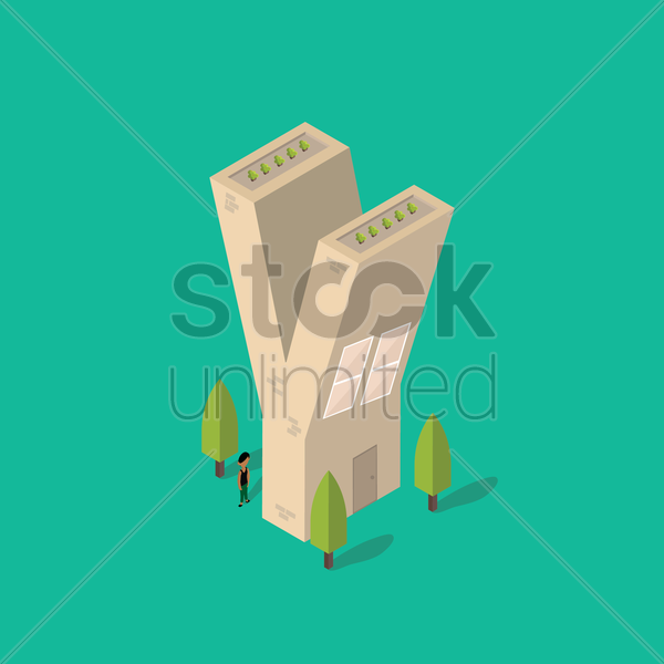 isometric building with alphabet y vector graphic
