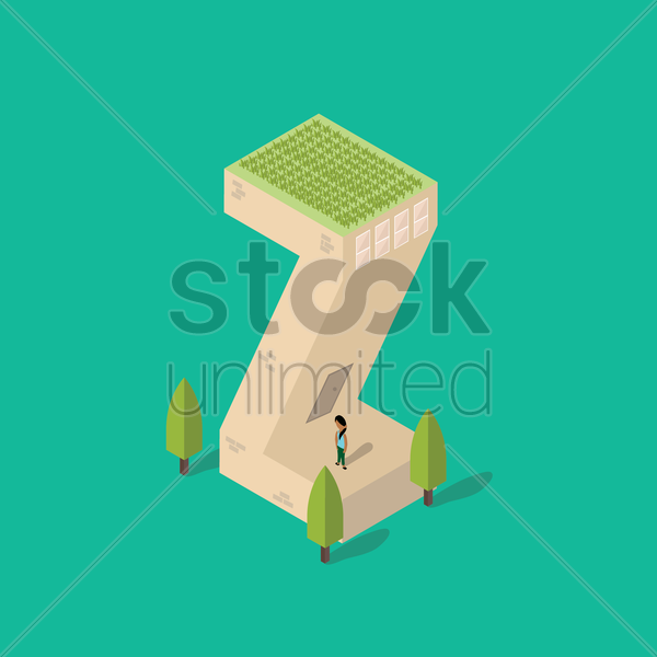 isometric building with alphabet z vector graphic