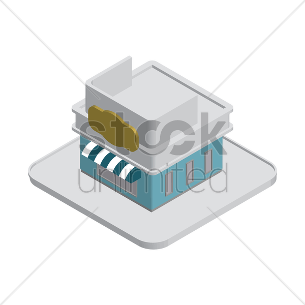 isometric building vector graphic