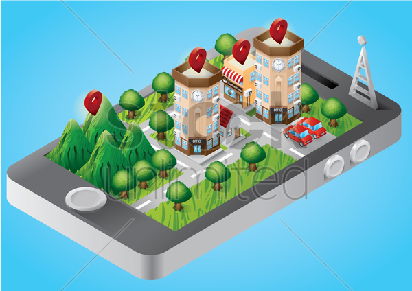 isometric buildings on smartphone vector graphic