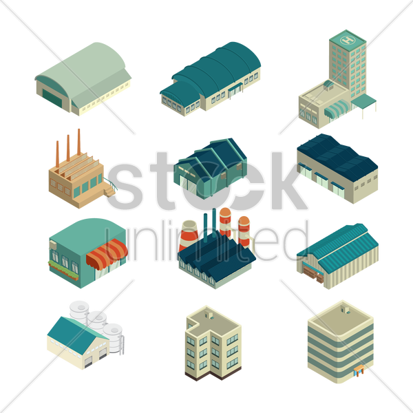 isometric buildings vector graphic