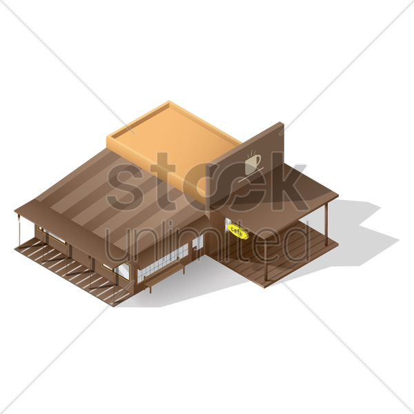 isometric cafe building vector graphic