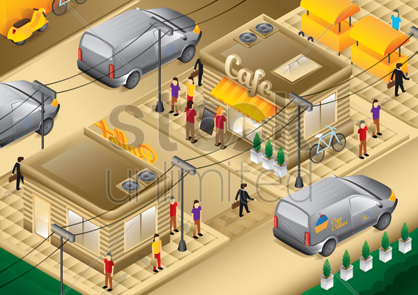 isometric cafe vector graphic